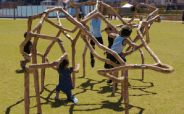 Playing outdoors with fun and with play equipment